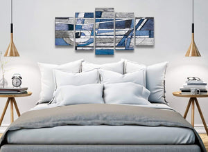 5 Part Indigo Blue White Painting Abstract Office Canvas Pictures Decor - 5404 - 160cm XL Set Artwork