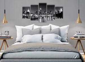 5 Piece Landscape Canvas Wall Art Prints - River Thames Skyline of London - 5430 Black White Grey - 160cm XL Set Artwork