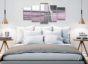 5 Piece Lilac Grey Painting Abstract Living Room Canvas Pictures Decor - 5395 - 160cm XL Set Artwork