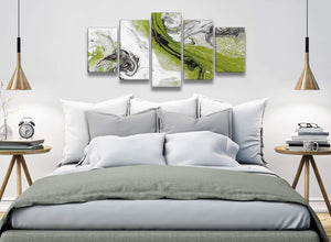5 Panel Lime Green and Grey Swirl Abstract Dining Room Canvas Pictures Decor - 5464 - 160cm XL Set Artwork