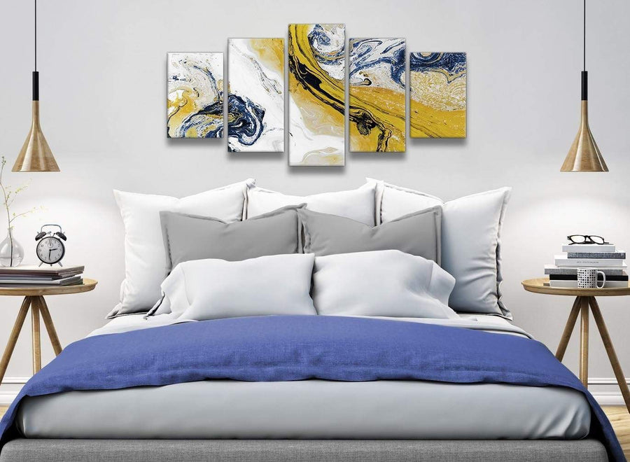 5 Piece Mustard Yellow and Blue Swirl Abstract Bedroom Canvas Wall Art Decor - 5469 - 160cm XL Set Artwork
