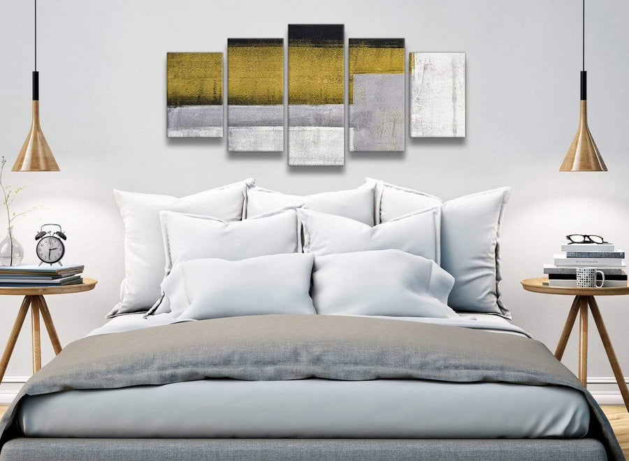 5 Piece Mustard Yellow Grey Painting Abstract Office Canvas Pictures Decorations - 5425 - 160cm XL Set Artwork