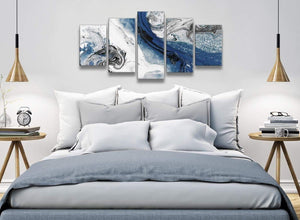 5 Piece Blue and Grey Swirl Abstract Office Canvas Wall Art Decor - 5465 - 160cm XL Set Artwork
