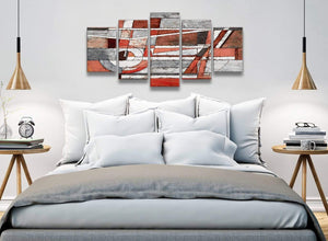5 Piece Red Grey Painting Abstract Office Canvas Wall Art Decor - 5401 - 160cm XL Set Artwork