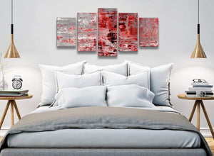 5 Panel Red Grey Painting Abstract Office Canvas Pictures Decor - 5414 - 160cm XL Set Artwork