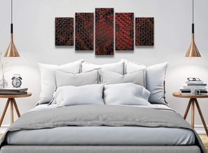 5 Panel Red Snakeskin Animal Print Abstract Living Room Canvas Wall Art Decorations - 5476 - 160cm XL Set Artwork