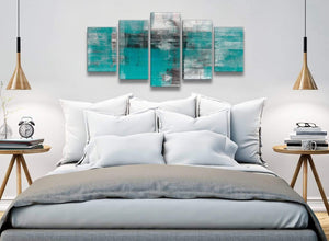 5 Piece Teal Black White Painting Abstract Bedroom Canvas Pictures Decor - 5399 - 160cm XL Set Artwork
