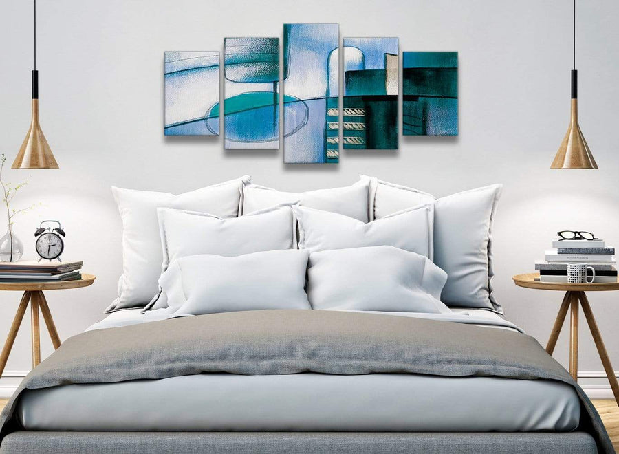 5 Piece Teal Cream Painting Abstract Dining Room Canvas Pictures Decor - 5417 - 160cm XL Set Artwork