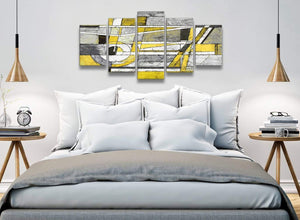 5 Panel Yellow Grey Painting Abstract Dining Room Canvas Wall Art Decorations - 5400 - 160cm XL Set Artwork