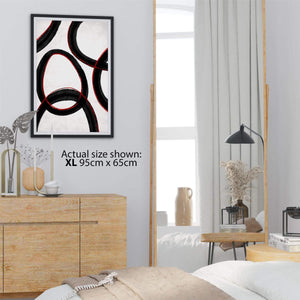 Abstract Black and White Red Illustration Canvas Art Prints