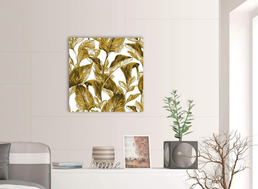 Contemporary Mustard Yellow White Tropical Leaves Canvas Modern 64cm Square 1S318M For Your Bedroom