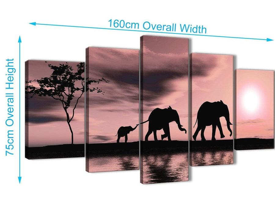 5361-cheap-extra-large-blush-pink-african-sunset-elephants-canvas-wall-art-print-split-5-piece-160cm-wide-for-your-living-room