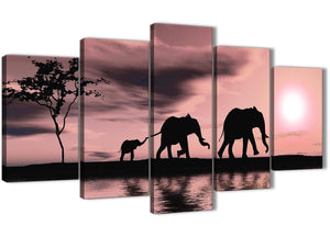5361-contemporary-extra-large-blush-pink-african-sunset-elephants-canvas-wall-art-print-split-5-set-160cm-wide-for-your-kitchen
