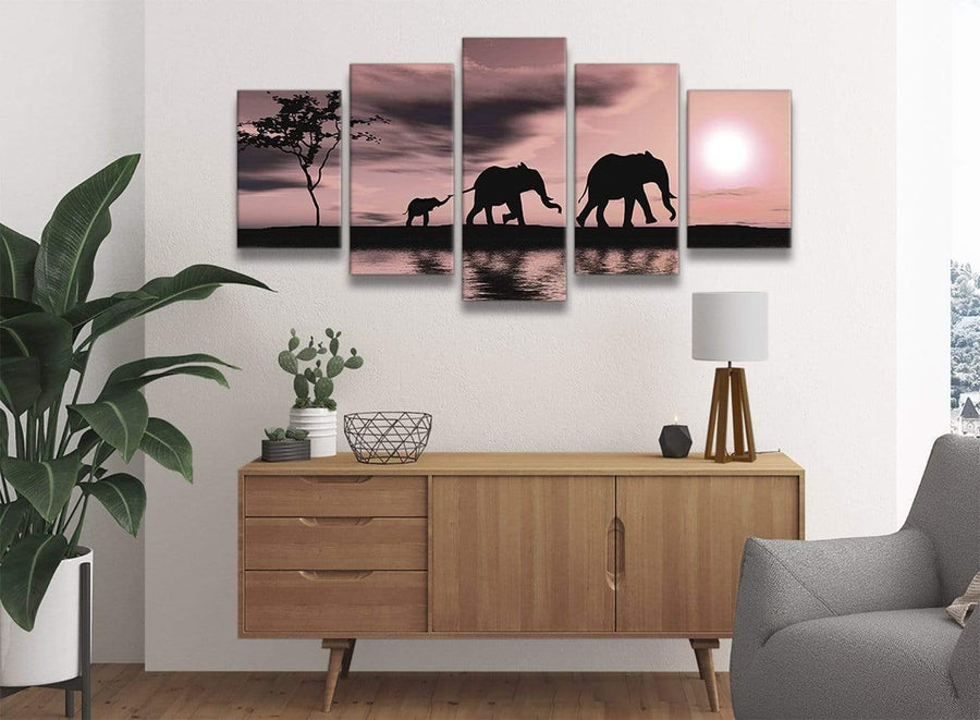 5361-oversized-extra-large-blush-pink-african-sunset-elephants-canvas-wall-art-print-multi-5-part-160cm-wide-for-your-dining-room