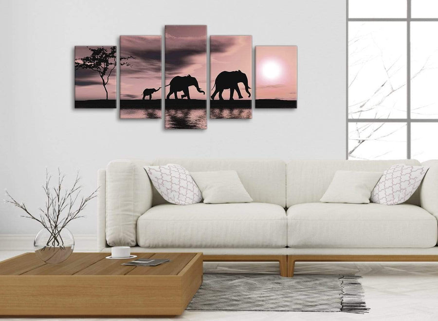 5361-panoramic-extra-large-blush-pink-african-sunset-elephants-canvas-wall-art-print-multi-5-set-160cm-wide-for-your-kitchen