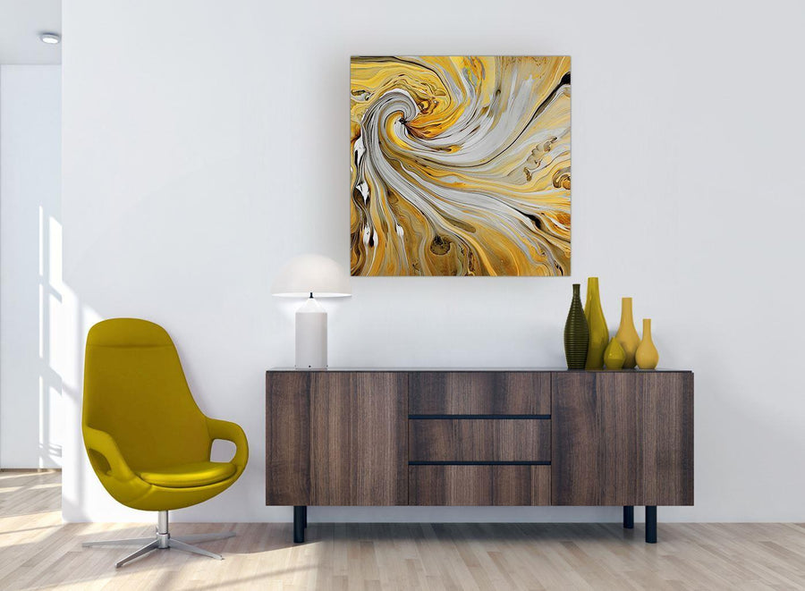 modern mustard yellow and grey spiral swirl abstract canvas modern 79cm square 1s290l for your dining room