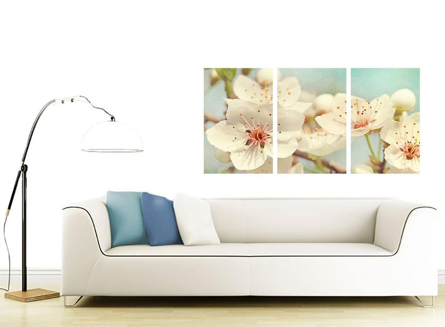 contemporary japanese cherry blossom duck egg blue white floral canvas multi 3 part 3289 for your hallway