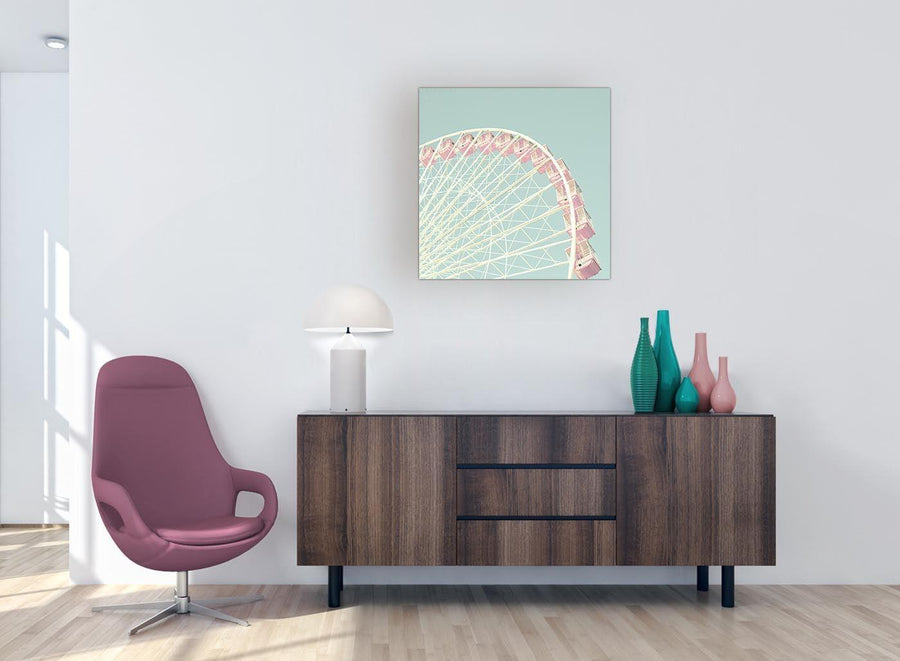 contemporary shabby chic duck egg blue pink ferris wheel canvas modern 64cm square 1s282m for your girls bedroom