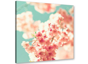 cheap japanese cherry blossom shabby chic pink blue floral canvas modern 49cm square 1s288s for your study