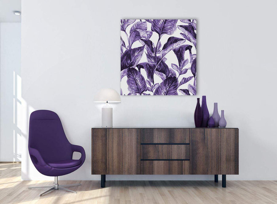 Cheap Dark Purple White Tropical Exotic Leaves Canvas Modern 79cm Square 1S322L For Your Bedroom