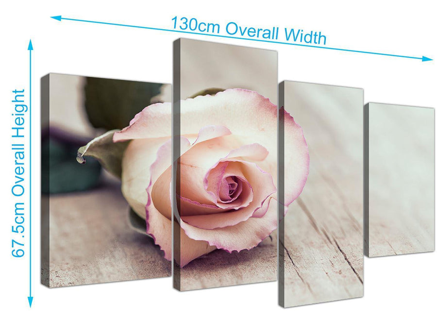panoramic large vintage shabby chic french rose cream floral canvas split 4 piece 4278 for your girls bedroom