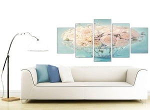 contemporary extra large duck egg blue and white roses flowers floral canvas split 5 panel 5286 for your living room