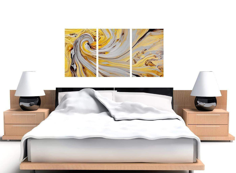 oversized yellow and grey spiral swirl abstract canvas split 3 set 3290 for your bedroom