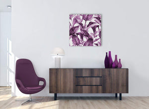 Cheap Plum Aubergine White Tropical Leaves Canvas Modern 64cm Square 1S319M For Your Living Room