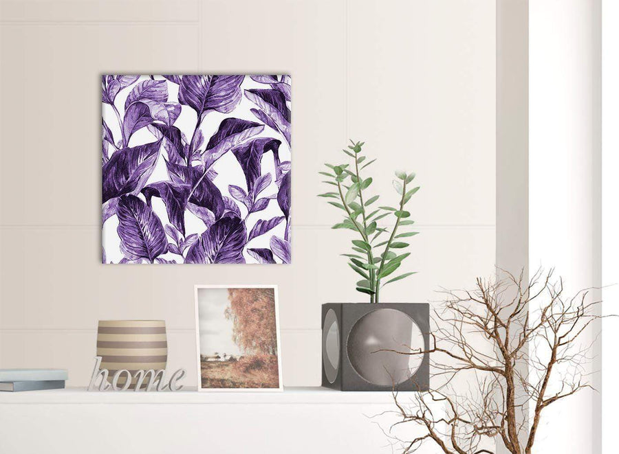Contemporary Dark Purple White Tropical Exotic Leaves Canvas Modern 49cm Square 1S322S For Your Dining Room