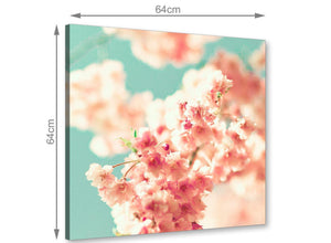 chic japanese cherry blossom shabby chic pink blue floral canvas modern 64cm square 1s288m for your living room