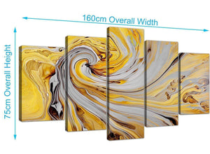 panoramic extra large yellow and grey spiral swirl abstract canvas split 5 part 5290 for your dining room