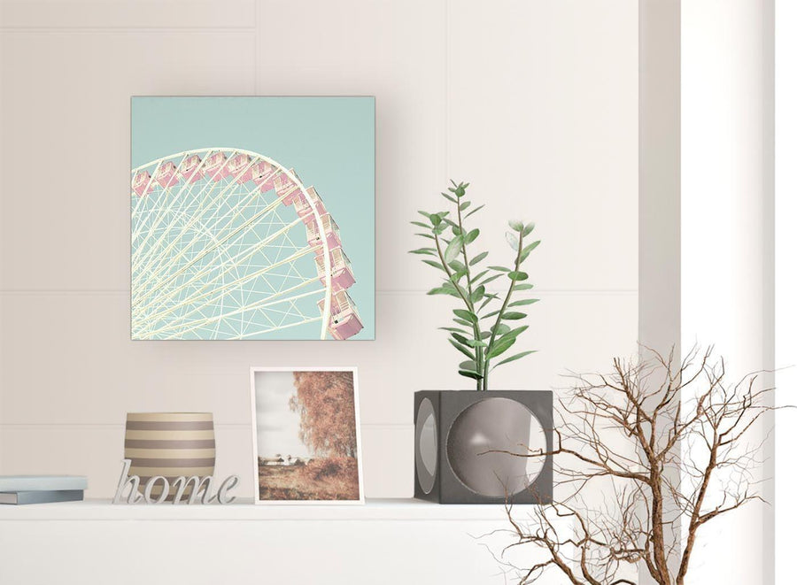 shabby chic duck egg blue pink ferris wheel lifestyle canvas modern 49cm square 1s282s for your teenage girls bedroom