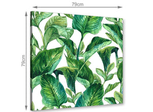 Green Palm Tropical Banana Leaves Canvas Wall Art Print - 79cm Square - 1s324l