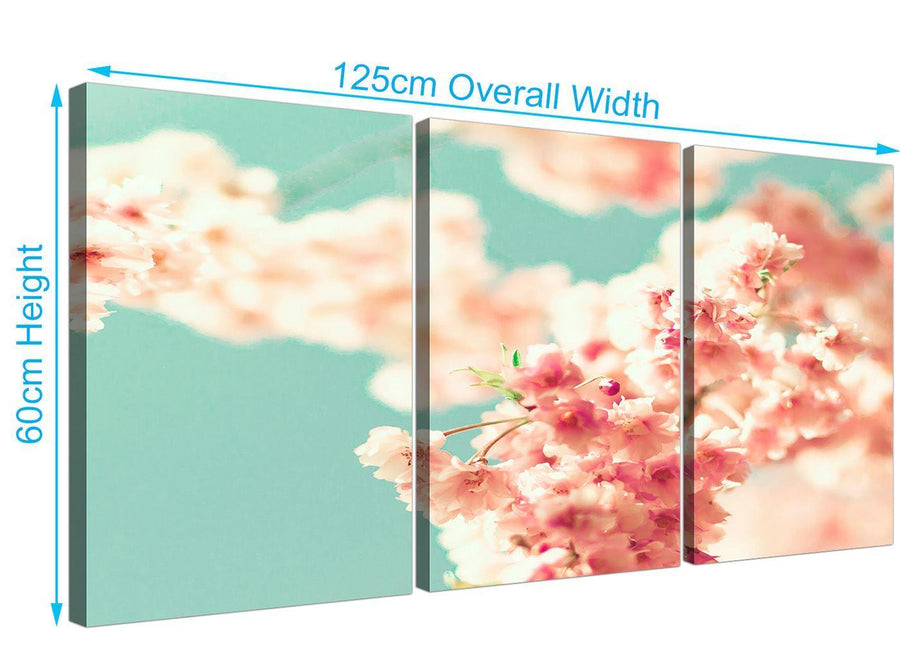 panoramic japanese cherry blossom shabby chic pink blue floral canvas split set of 3 3288 for your living room