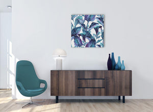 Cheap Turquoise And White Tropical Leaves Canvas Modern 64cm Square 1S323M For Your Kitchen
