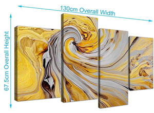 panoramic large yellow and grey spiral swirl abstract canvas split 4 piece 4290 for your dining room