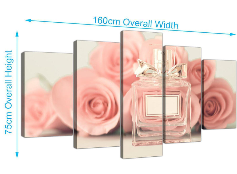 panoramic extra large shabby chic pink cream rose perfume girls bedroom floral canvas split set of 5 5285 for your bedroom