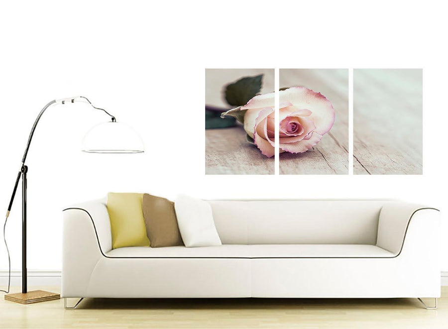 contemporary vintage shabby chic french rose cream floral canvas multi 3 panel 3278 for your girls bedroom