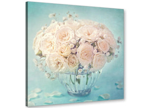 cheap duck egg blue and white roses flowers floral canvas modern 79cm square 1s286l for your living room