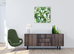 Green Palm Tropical Banana Leaves Canvas Wall Art Print - Modern 64cm Square - 1s324m