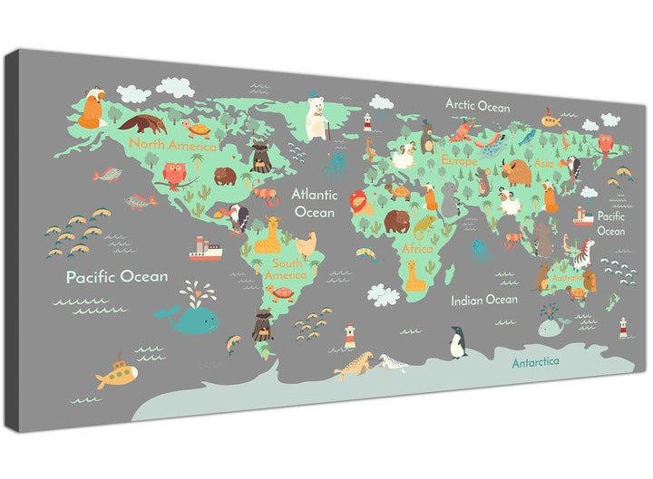 Childrens Animal Atlas for Bedroom in green and grey