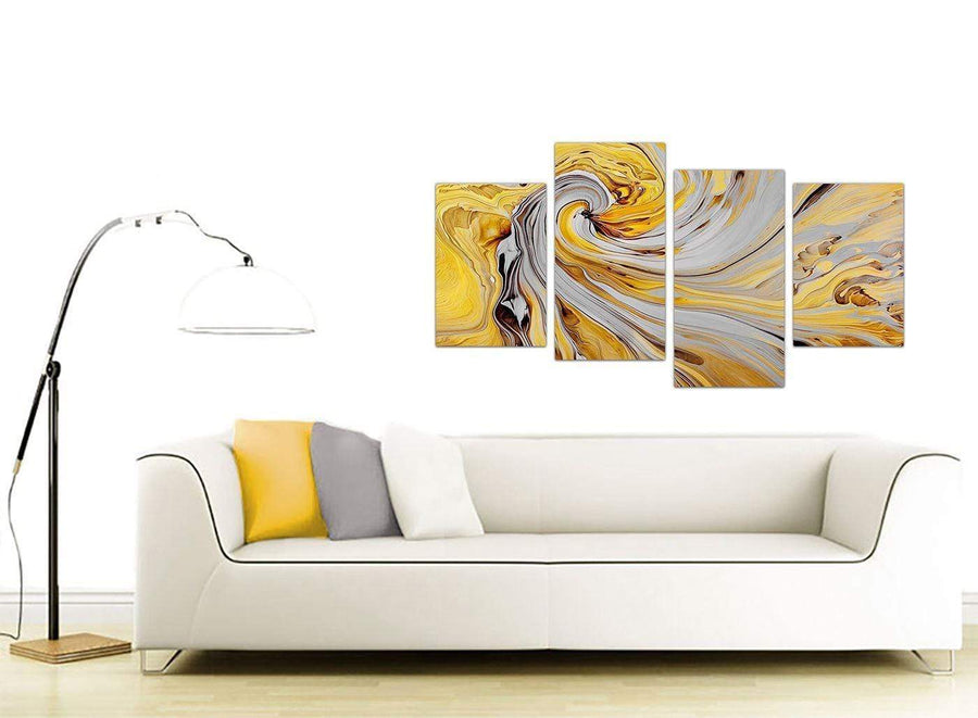 contemporary large yellow and grey spiral swirl abstract canvas split 4 set 4290 for your bedroom