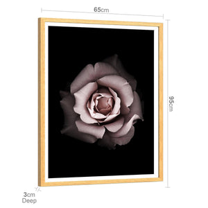 Blush Pink Grey Rose Floral Framed Wall Art Print