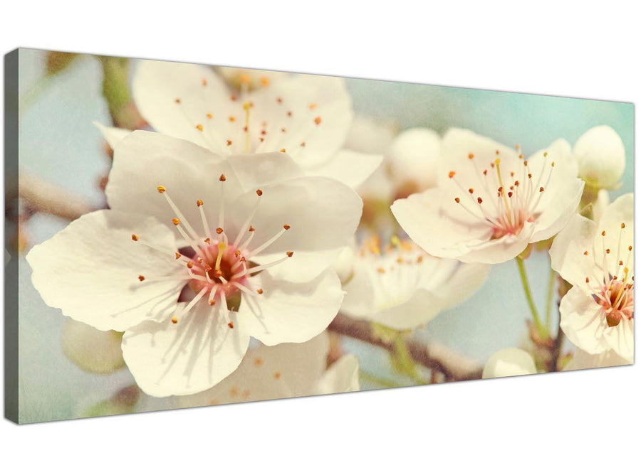 cheap japanese cherry blossom duck egg blue white floral canvas modern 120cm wide 1289 for your girls bedroom