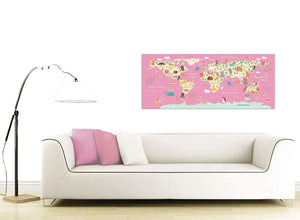 Oversized Pink Animal Map Of World Atlas Animals Canvas Modern 120cm Wide 1316 For Your Nursery