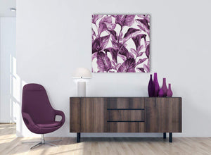 Cheap Plum Aubergine White Tropical Leaves Canvas Modern 79cm Square 1S319L For Your Girls Bedroom