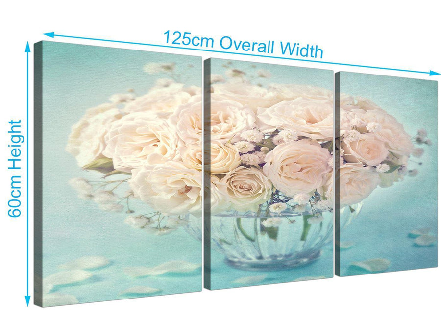 panoramic duck egg blue and white roses flowers floral canvas multi 3 part 3286 for your living room