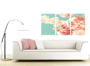 contemporary japanese cherry blossom shabby chic pink blue floral canvas split set of 3 3288 for your study