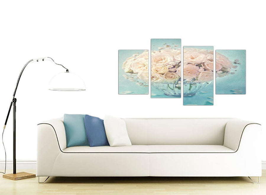 contemporary large duck egg blue and white roses flowers floral canvas split 4 panel 4286 for your living room