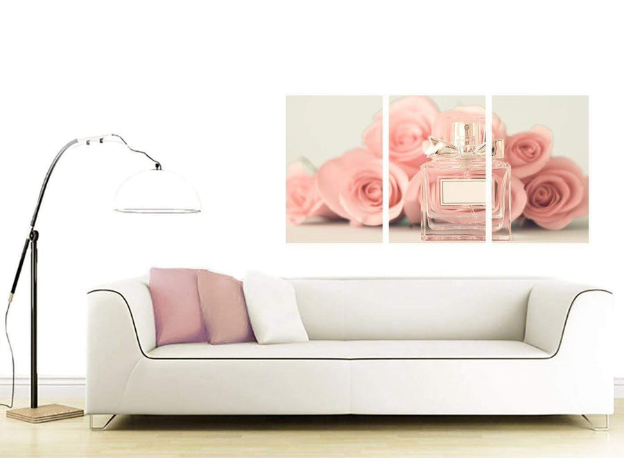 contemporary shabby chic pink cream rose perfume girls bedroom floral canvas split 3 panel 3285 for your girls bedroom